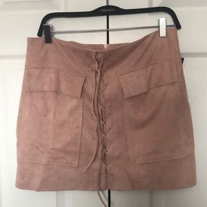 BRUNETTE THE LABEL faux suede lace up skirt!